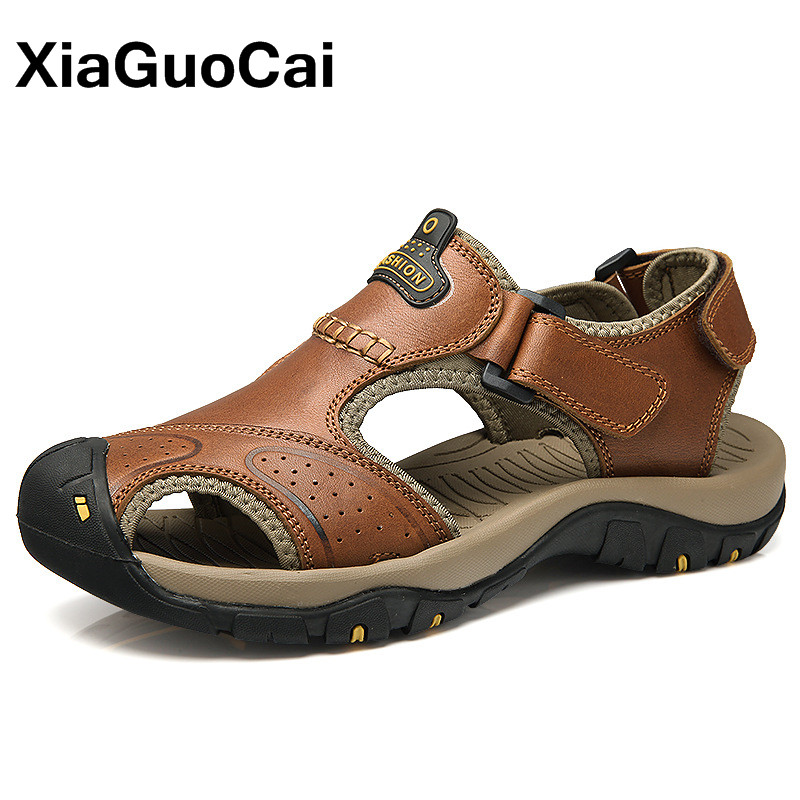 Genuine Leather Summer Men Sandals Soft Comfortable Male Beach Shoes High Quality Antiskid Outdoor Big Size Casual Mens Footwear