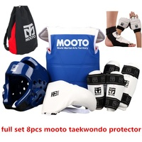 8pcs MOOTO Quality Taekwondo Protectors full suit chest guards Child adult Forearm shin protector groin guard Taekwondo helmet