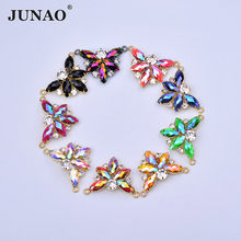 JUNAO 30*40mm Sewing Rose AB Crystals Butterfly Flowers Rhinestones Connector Gold Claw Crystal Appliques Flatback Resin Gems(China)