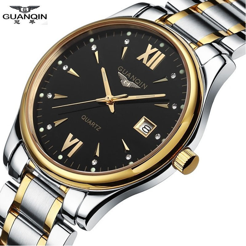 ФОТО GUANQIN Mens Watches Top Brand Luxury Full Steel Causal Quartz Watch Waterproof  Business wristwatch Relogio Masculino