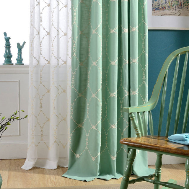 Simple Design New Green Embroidered Cotton Curtain Fabric Wholesale Modern Balcony Window Curtains Fabrics Luxury