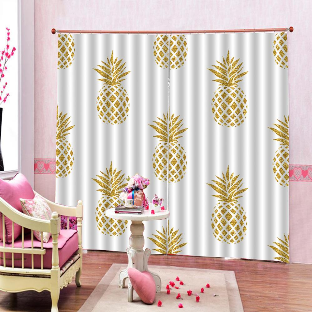 3D Curtain Luxury Blackout Window Curtain Living Room Golden pineapple for bderoom Blackout curtain3D Curtain Luxury Blackout Window Curtain Living Room Golden pineapple for bderoom Blackout curtain