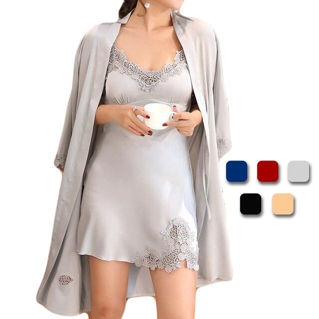 buy online fb559 1ec45 UNLIMON Seide Robe Frauen Nachtwäsche Damen Sexy Satin Sleepdress Nachthemd  Sleep Sets