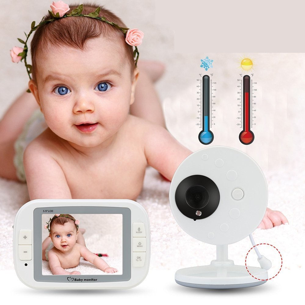 babykam radio nanny baby monitor 3.5 inch LCD IR Night Vision Temperature Sensor Lullabies 2 way audio baby monitors video nanny
