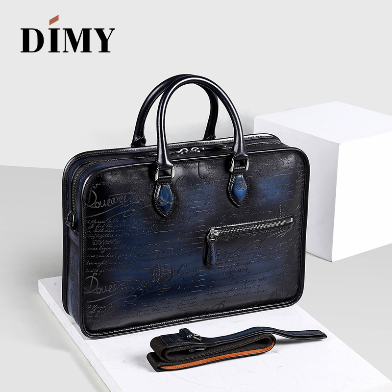 DIMY 2018 Designer Cow Leather Briefcase Men Business Letter Briefcases Christmas Gifts Shoulder Bags 14-15 Inch Laptop Bag