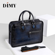 DIMY 2018 Designer Cow Leather Briefcase Men Business Letter Briefcases Christmas Gifts Shoulder Bags 14-15 Inch Laptop Bag цена в Москве и Питере