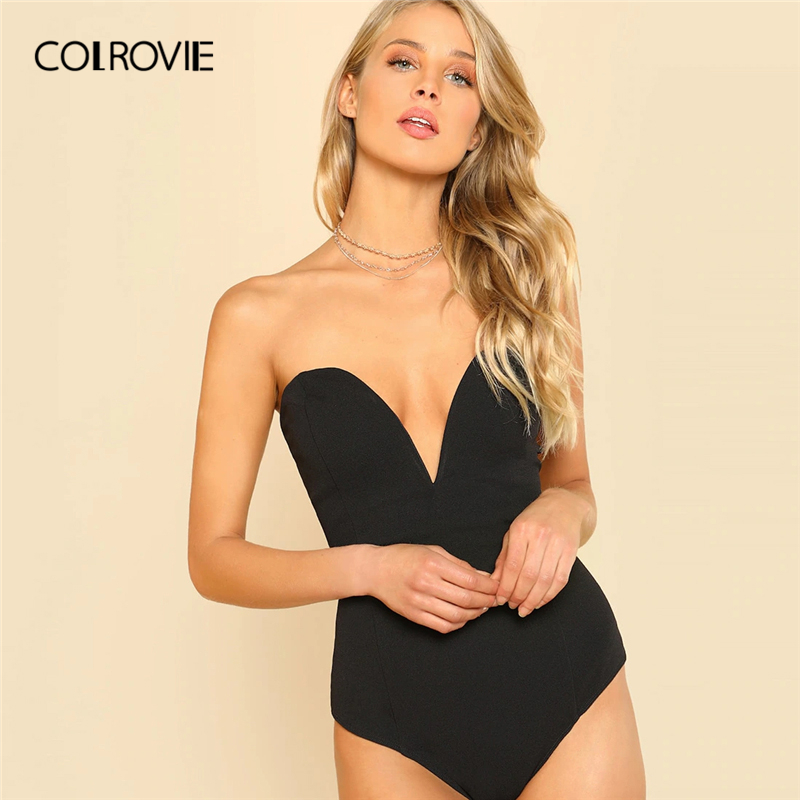 COLROVIE Black Backless Sweetheart Bustier Skinny Sexy Bodysuit Women 2019 Summer Sleeveless Sexy Body Party Bodysuits