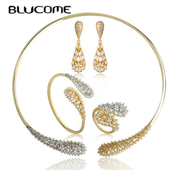 Blucome Gold Color Wedding Jewelry Set CZ Zircon Collar Earrings Ring Bangle Sets For Women Engagement Nigerian 4PCS Accessories