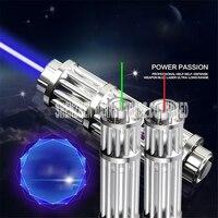 JT101 laser latarka Nowa Jakość Wysokość Mocy Wskaźnik Laserowy 450nm Niebieski Ołówek Wiązki 5 Głowy Z Ładowarką Z Okulary