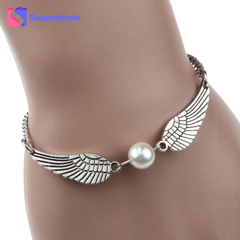 2018 1PC Fashion New Silver Imitation Pearl Angel Wings