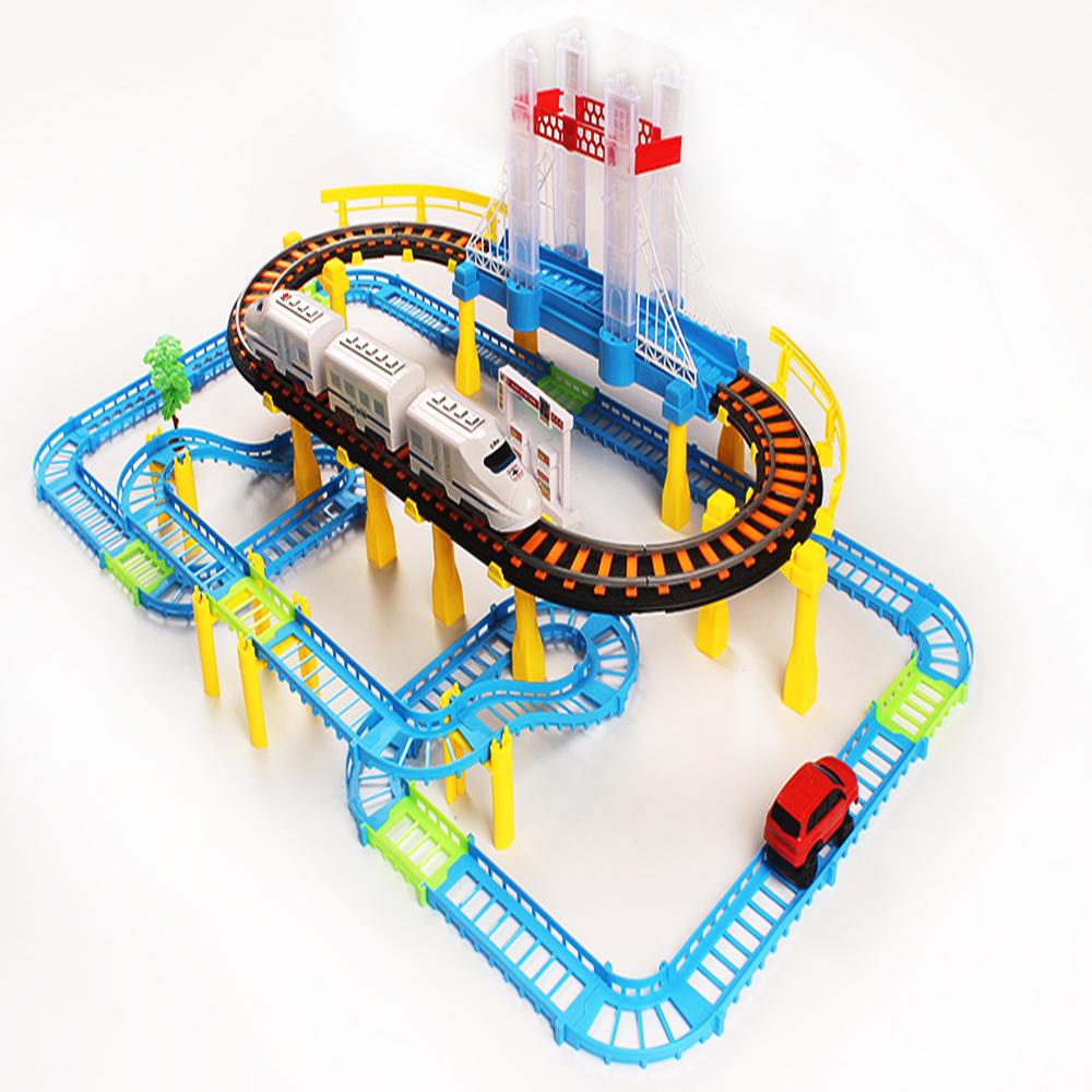 Interesting Puzzle Educational Gift Model Slots Toy 80pcs Electric Train Mini Car Track Toys Luminous Music Racing Tracks Set
