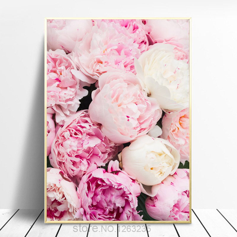 Pink Roses Peony Nordic Poster Wall Picture Paintings Peonies Wall Art Canvas Painting Peony Flowers Pictures Girl Room Decor