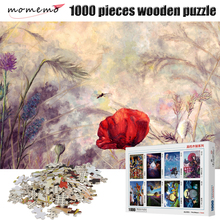 MOMEMO Red Poppy Puzzle for Adults 1000 Pieces Wooden Jigsaw Toys Games Educational Children Kids