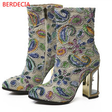 Suede Fretwork Heels Rubber Boots For Women Runway Floral Mid-Calf Boots String Bead Chelsea Boots Botas Femininas Com Salto