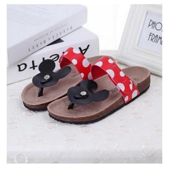 2014 New South Korea Cute Cartoon Mickey Minnie Mouse Dot Comfortable Summer Cool Flip Flops Women Cork Slippers in Flip Flops from Shoes