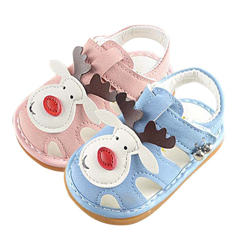 Cute Infant Baby Boy Girls Shoes Cartoon Animal Pattern Sandals With Sound Soft-Soled Baby Shoe Sandals