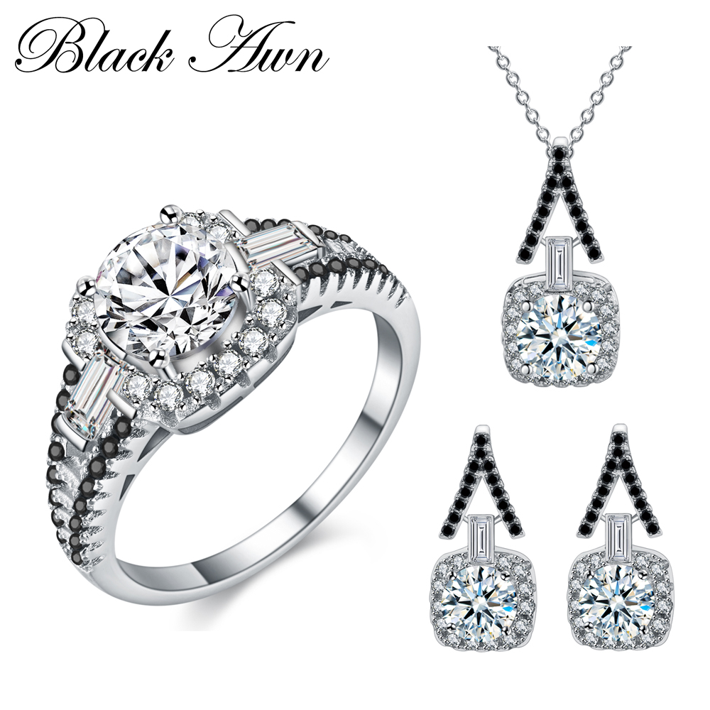 [BLACK AWN] 925 Sterling Silver Fine Jewelry Sets Trendy Engagement Sets Ring+Earring+Necklace for Women PTR150 [black awn] 925 sterling silver fine jewelry set trendy engagement wedding necklace earring for women pt161