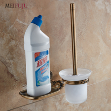Bathroom White Aluminum Toilet Brush Holder with Shelf Wall Mount Bronze Holders Accessories