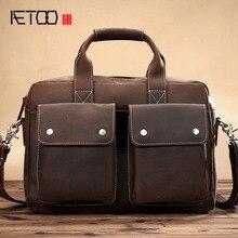 ATEOO The new Crazy horse leather handbag leather shoulder bag Messenger bag men bag retro leisure business briefcase