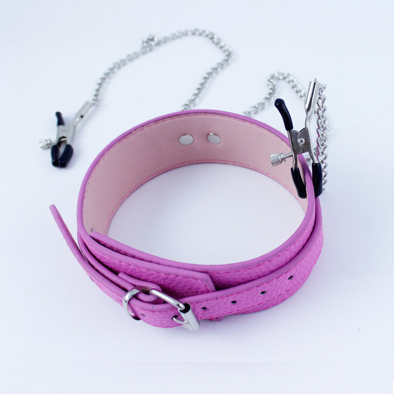 Buy New pink leather bondage harness neck collar chain nipple clamps bdsm fetish adult slave collars metal clip restraints sex toys