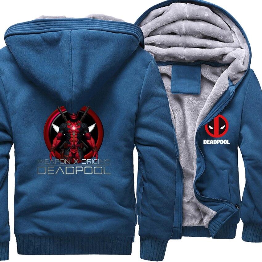 Sweatshirts For Men Thick Jackets 2018 Autumn Winter Zipper Hoody Fashion Streetwear DEADPOOL Hip Hop Men's Hoodies Tracksuits