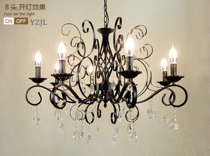 Chandelier crystal lighting chandelier American Iron art retro living room creative bedroom black white lighting chandelier 2017 luminaria american retro crystal iron chandelier living room bedroom restaurant golden vintage art lighting free shipping