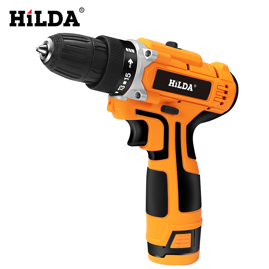 HILDA 12V Electric Drill With Rechargeable Lithium Battery Electric Screwdriver Cordless Screwdriver Two speed Power Tools-in Electric Screwdrivers from Tools on