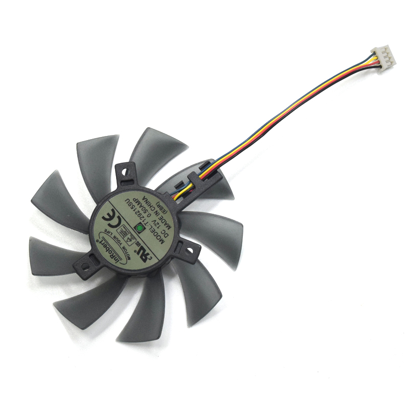 85mm T129215SU 4Pin Two Ball-Bearing Replace For <font><b>Gigabyte</b></font> GTX <font><b>580</b></font> gaming <font><b>4gb</b></font> MSI <font><b>RX</b></font> 460 480 <font><b>580</b></font> Video Card 0.5A Cooler Fan image