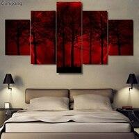 5 패널 HD 레드 달 밤 숲 나무 캔버스 인쇄 그림 벽 예술 5 개 사진 패널 포스터 거실