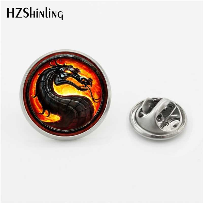 Baru Fashion Dragon Kerah Pin Bros Handmade Steampunk Mortal Kombat Butterfly Gesper Pin Kubah Kaca Stainless Steel Kerah Pin