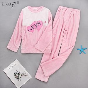 Image 5 - Thick Warm Flannel Pajama Sets for Women 2019 Winter Long Sleeve Coral Velvet Pyjama Girl Cute Sleepwear Homewear Clothing