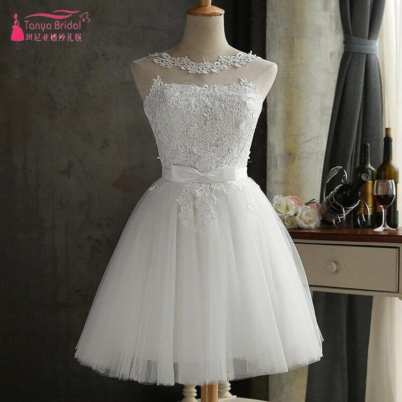 Weddings & Events Kurze Heimkehr Kleid Weiß Spitze Tüll Zurück Zu Schule Kleider Vestidos De Graduacion Günstige Zhm022