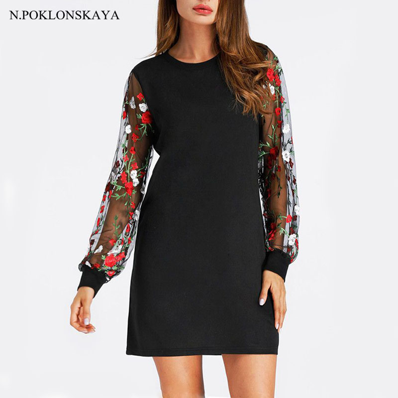 Tunic Dress With Floral Mesh Bishop Sleeve Black Long Sleeve Autumn Dresses Womens Casual Short Shift Dress Ladies Dropshipping