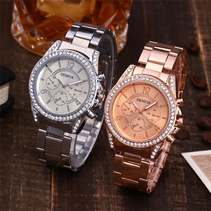 Luxury Geneva Brand Women's Watches Fashion 2018 Casual Couple Watch Stainless Steel Quartz Ladies Wristwatches Relogio Feminino