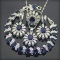 Azul Criado Sapphire Topaz 925 Sterling Conjuntos de Jóias de Prata Para As Mulheres Brincos/Pingente/Colar/Anéis/Pulseiras Caixa de Presente livre