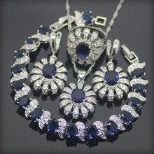 Zafiro azul Topacio Blanco 925 Plata de La Joyería Para Las Mujeres Pendientes/Colgante/Collar/Anillos/Pulseras Caja de Regalo libre