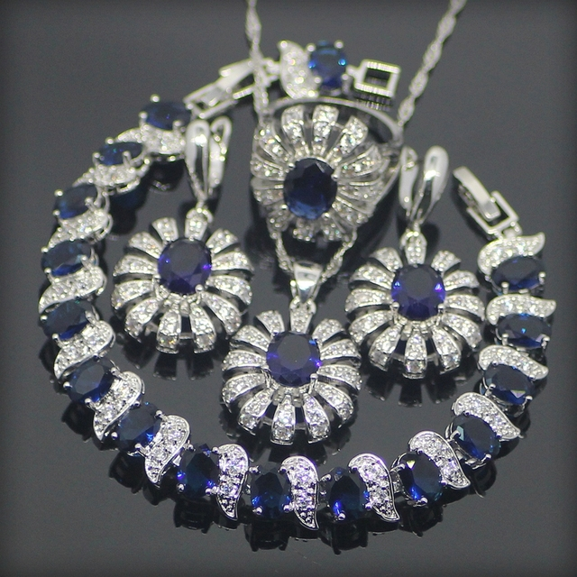 Blue Created Sapphire Topaz 925 Sterling Silver Jewelry Sets For Women Earrings/Pendant/Necklace/Rings/Bracelets Free Gift Box
