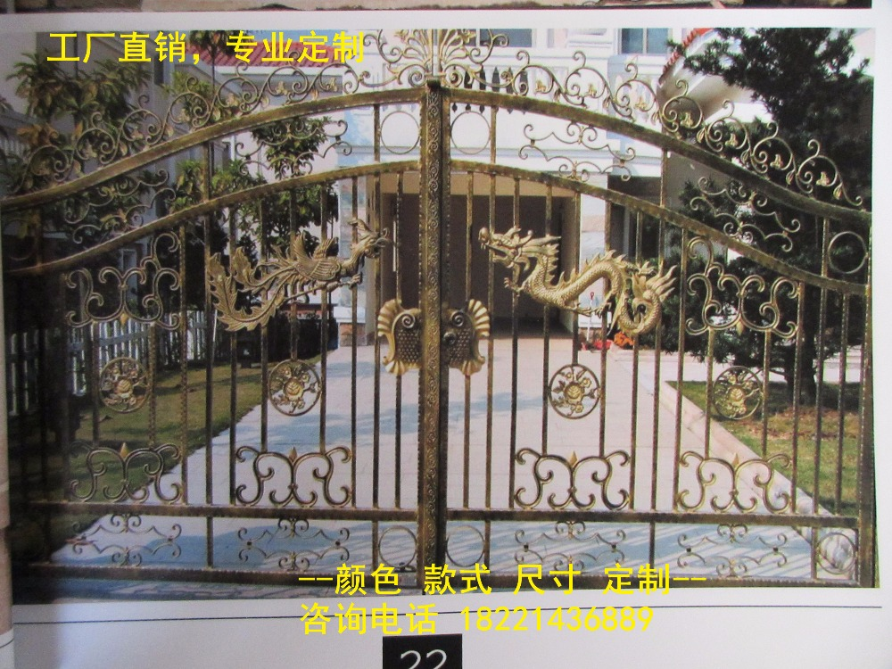 Custom Made Wrought Iron Gates Designs Whole Sale Wrought Iron Gates Metal Gates Steel Gates Hc-g36
