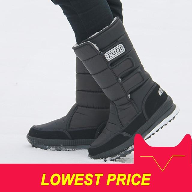 2018 الرجال الأحذية منصة الثلوج الأحذية للرجال سميكة أفخم للماء مقاومة للإنزلاق الشتاء أحذية زائد حجم 36- 47