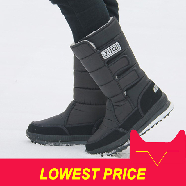 2019 Men Boots platform snow boots for men thick plush waterproof slip-resistant winter shoes Plus size 36 - 47