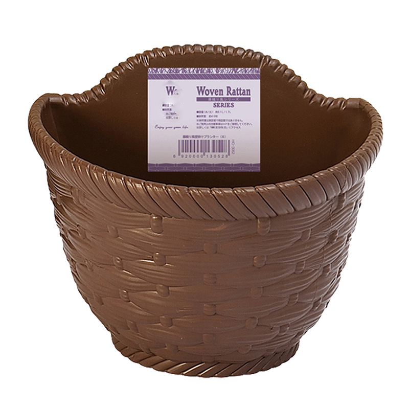 Image 3 - Imitation Wicker Rattan Hanging Basket Holder Half Round Planter Flowerpot Vase Garden Balcony Home Office Decoration Hot 2019-in Flower Pots & Planters from Home & Garden