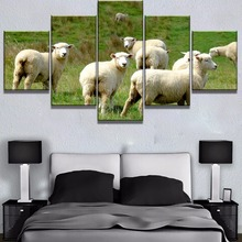 Framed 5 Piece HD Print Flock Sheep Animal Poster Modern Decorative Paintings on Canvas Wall Art for Home Decorations Decor