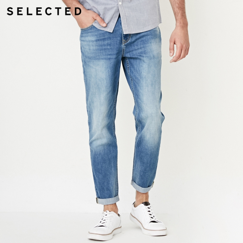 SELECTED Slade male microprojectile contains cotton wash nine cones leisure jeans C|418332504