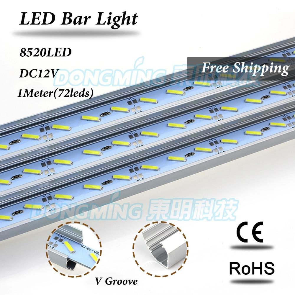 U/V Shape Aluminium Profile LED luces Strip 100cm 72leds dc12v led bar light 8520 for kitchen closet jewelry showcase
