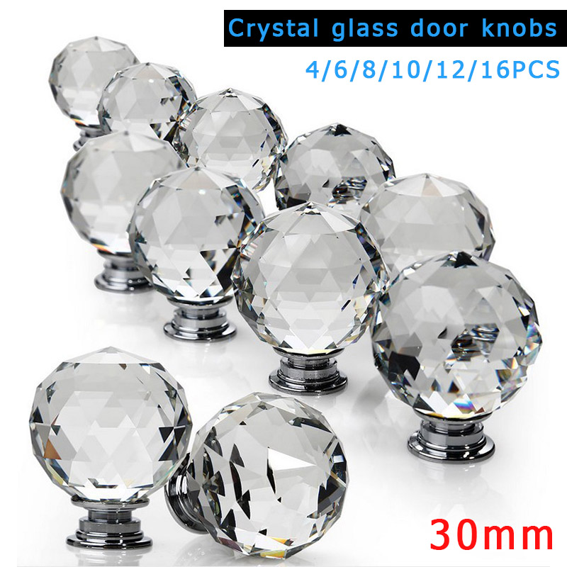 1/4/6/8/10/12/16Pcs Clear Crystal Glass Furniture Knobs With Screws For Drawer Cabinet Cupboard Wardrobe Door Handle Hot 96mm fashion deluxe glass clear black crystal villadom furniture decoration handle 3 8 gold drawer cabinet wardrobe door pulls