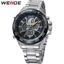 купить Fashion WEIDE Army Sport Watch Men Digital Quartz Yellow Case LED Steel Band 30m Water Resistant Man Wristwatches Orologio Uomo онлайн
