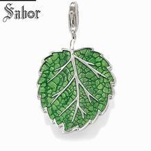 Купить с кэшбэком thomas Green Leaf Charm Pendant,Europe Jewelry For Women Men,2019 womens Gift 925 Sterling Silver Fit Bracelet jewellery charms