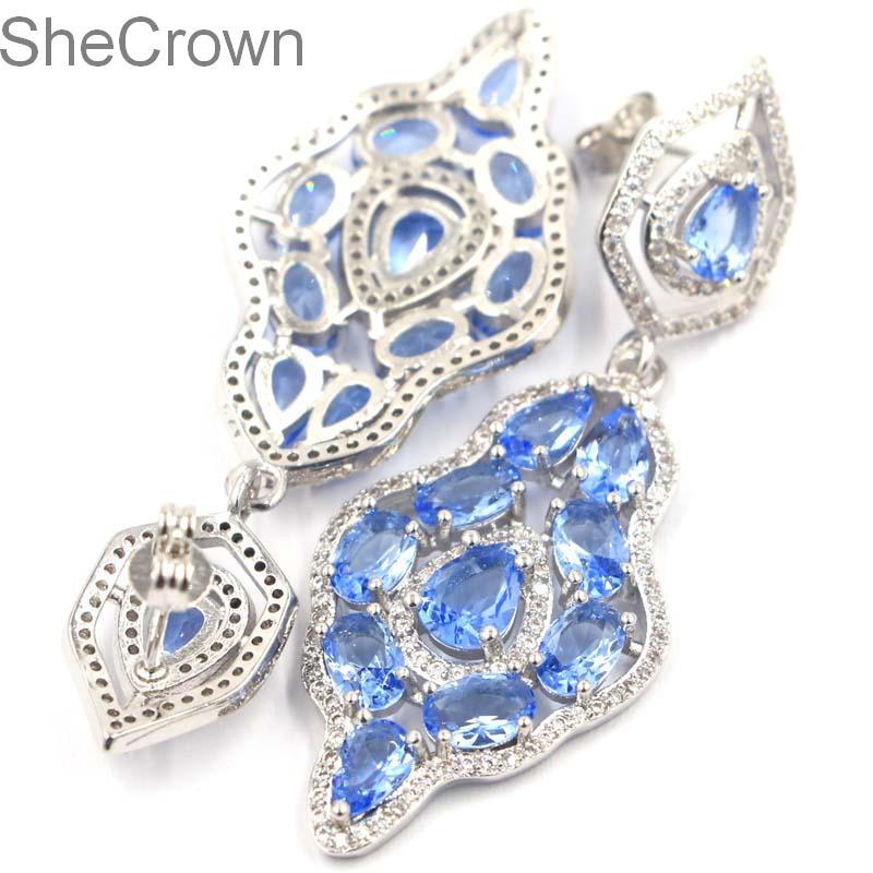 Fantastic Rich Blue Violet Tanzanite White CZ Woman 39 s Party Silver Earrings54x20mm in Earrings from Jewelry amp Accessories