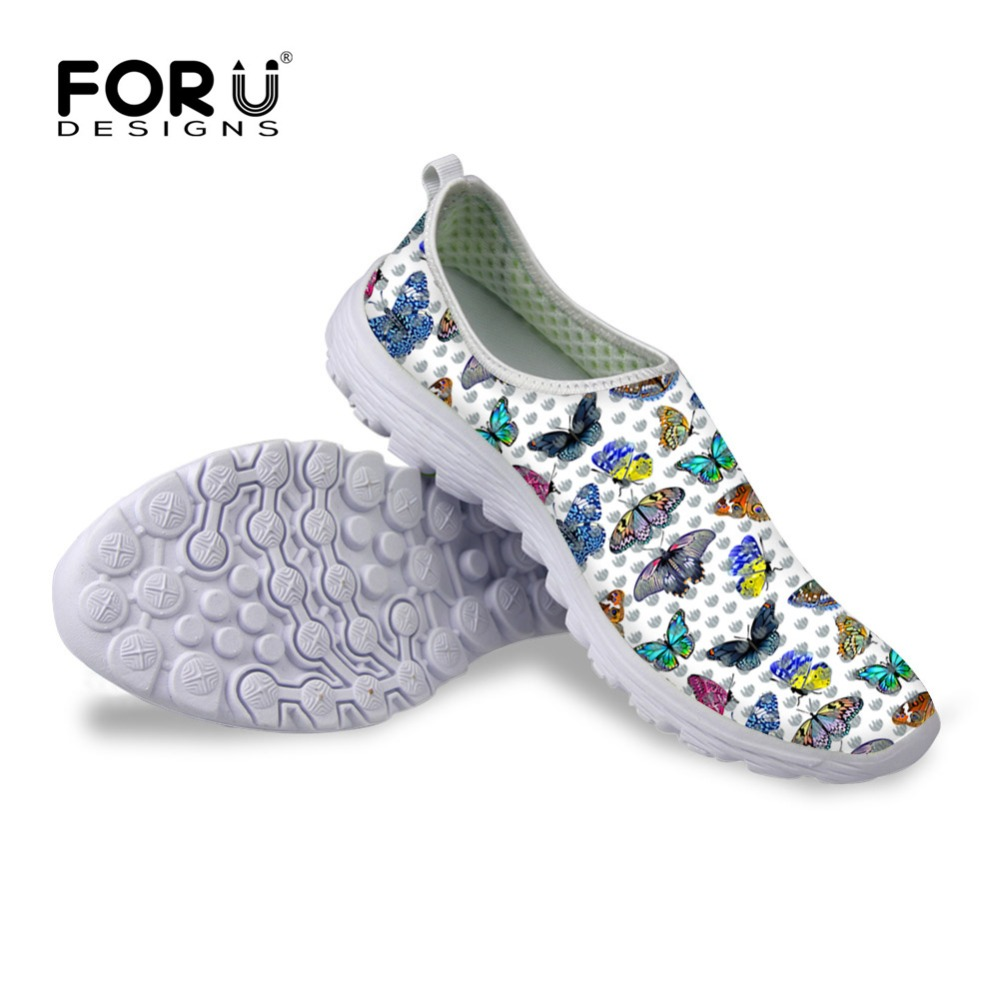 FORUDESIGNS Sapatas das Mulheres Borboleta Imprimir Malha Apartamentos  Sapatos para Senhoras Verão Respirável Slip-on 1dba3c9f51b96