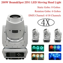High Quality 4XLot 200W Gobo LED Moving Head Beam Spot Lights Professional dj equipment For disco laser Stage Lighting Shows 4units mini 4x10w super beam moving head lights 60w high brightness led beam lights perfect for dj disco party wedding shows